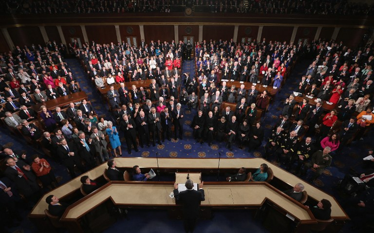 U.S. President Barack Obama delivers his State of the Union speech before a joint session of Congress at the U.S. Capitol February 12, 2013 in Washington, DC. ©AFP