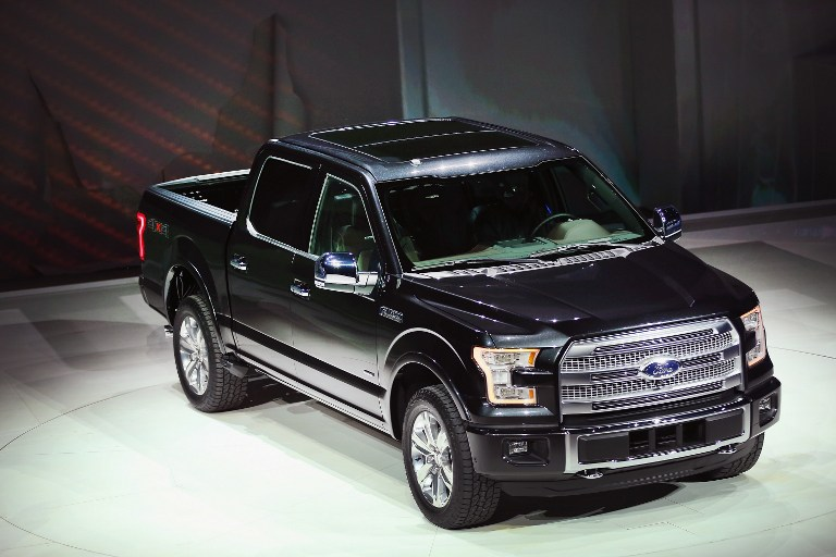 Ford introduces the new F-150 pickup truck at the North American International Auto Show on January 13, 2014 in Detroit, Michigan.