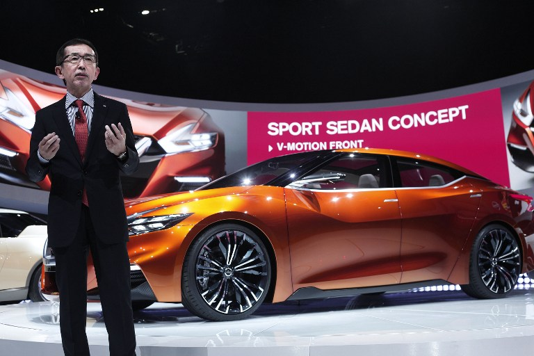 Shiro Nakamura, Nissan Senior Vice President and Chief Creative Officer, introduces the Nissan Sports Sedan Concept vehicle at the press preview of the 2014 North American International Auto Show January 13, 2014 in Detroit, Michigan.