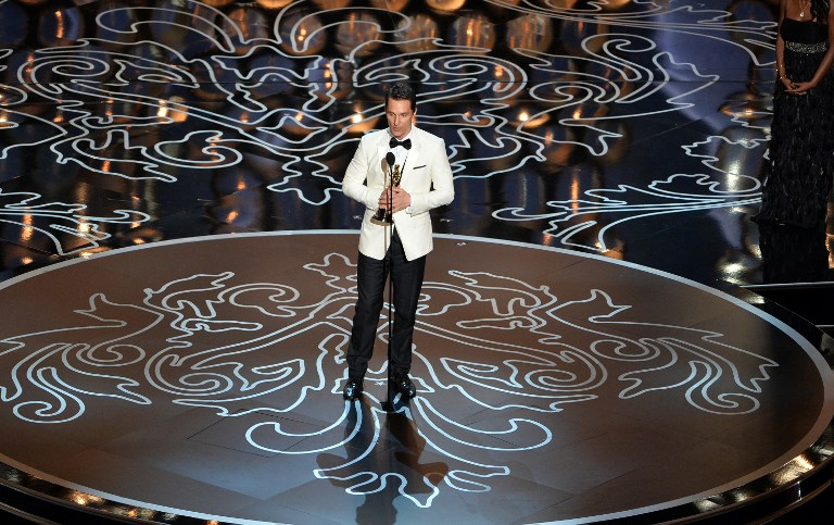 Actor Matthew McConaughey accepts the Best Performance by an Actor in a Leading Role award for 'Dallas Buyers Club'