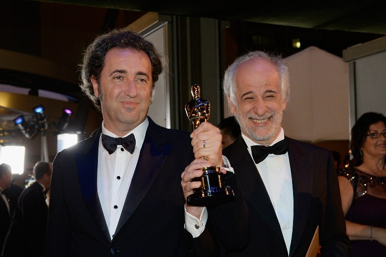 Director Paolo Sorrentino celebrates with Actor Toni after winning Best Foreign Language Film for 'The Great Beauty' (Italian)