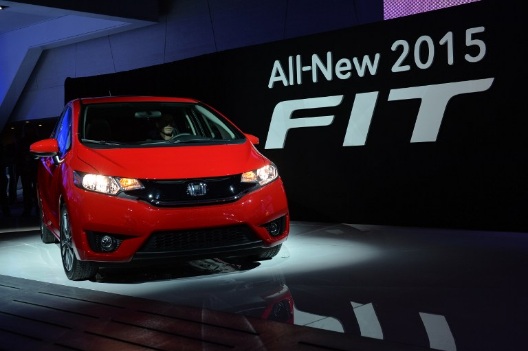 The 2015 Honda Fit is introduced during a press preview at the North American International Auto Show January 13, 2014 in Detroit.