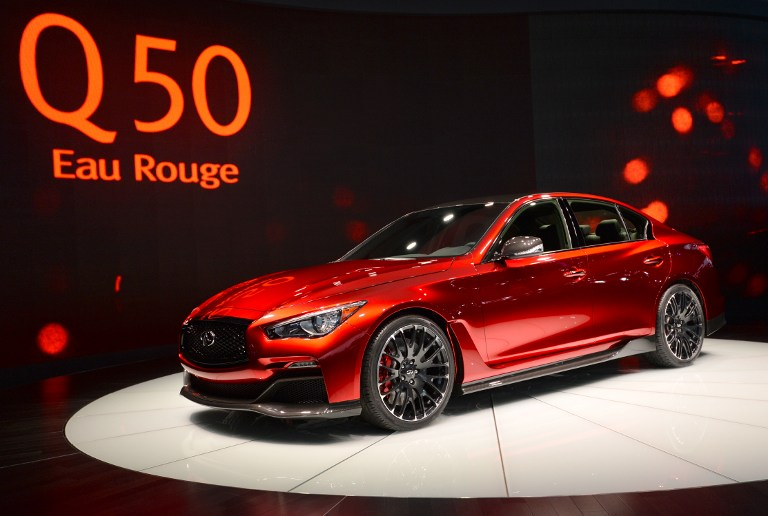 The Infiniti Q50 Eau Rouge on display during a press preview at the North American International Auto Show January 14, 2014 in Detroit, Michigan. ©AFP