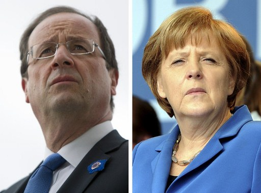 France's president-elect Francois Hollande (L) and German Chancellor Angela Merkel (R). ©AFP
