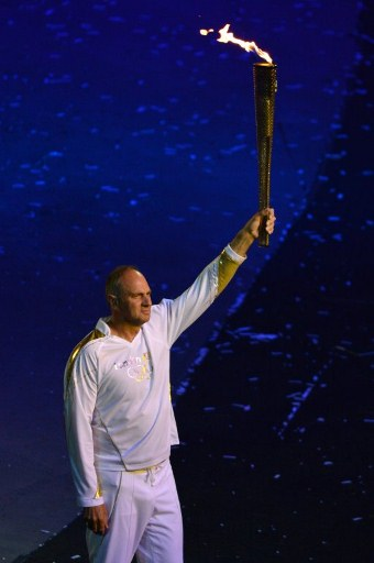 Five-time Olympic rowing gold medallist Steve Redgrave of Britain. ©AFP