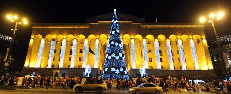 A New Year tree rising in front of the Georgia's parliament old building in central Tbilisi. ©AFP