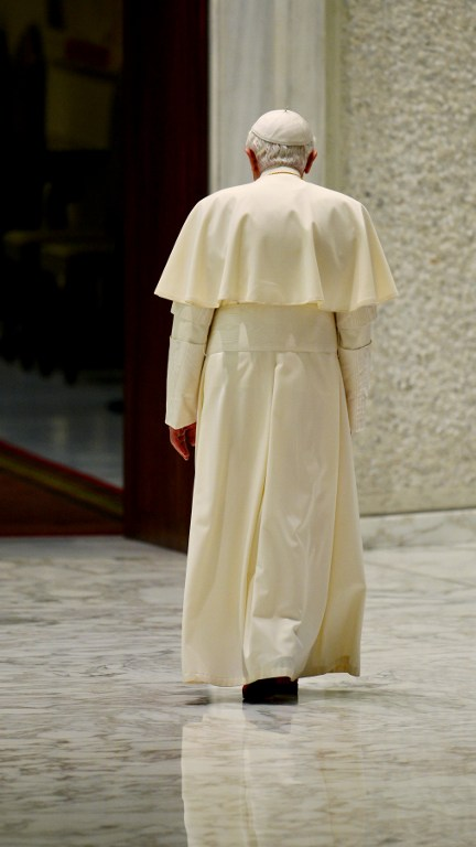 Pope Benedict XVI leaving after his general audience in the Paul VI hall at Vatican. ©AFP