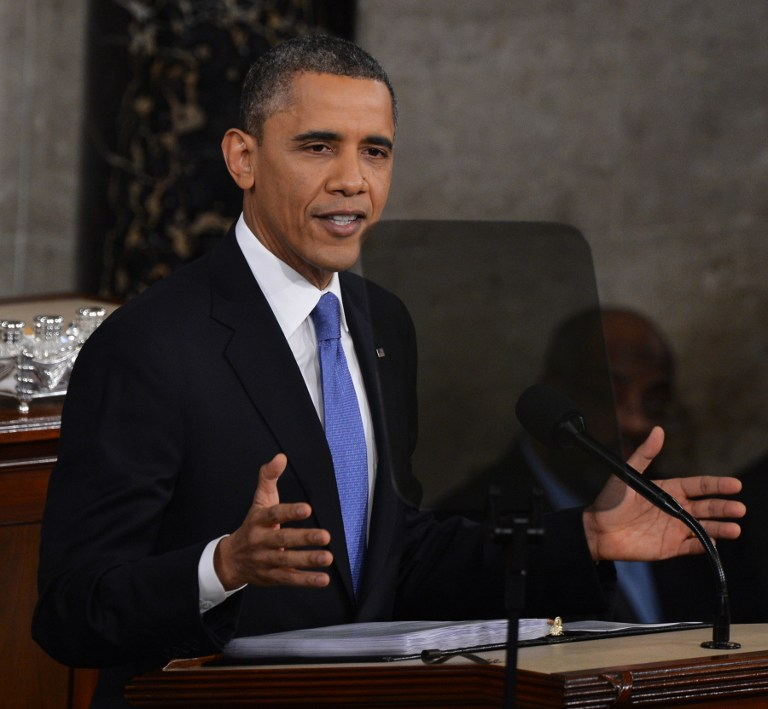 US President Barack Obama delivers his State of the Union address before a joint session of Congress on February 12, 2013 at the Capitol in Washington. ©AFP