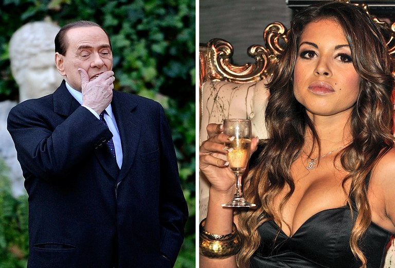This combo image made of two recent file pictures shows Italian Prime Minister Silvio Berlusconi (L) at Villa Madama in Rome and Moroccan Karima El Mahroug, nicknamed Ruby the Heartstealer in a nightclub.