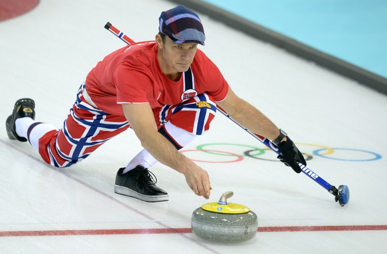 Norway's Thomas Ulsrud attends a Men's Curling Training Session at the Ice Cube Curling Center during the Sochi Winter Olympics
