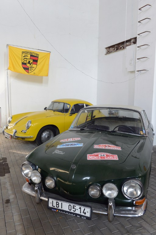 A Porsche 90 car and a Volkswagen Karmann Ghia (R), developed by Ferdinand Porsche