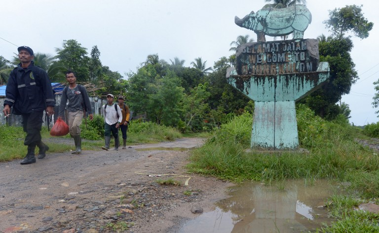 This picture taken on November 16, 2013 shows Indonesian rangers walking past a statue marking Ujung Kulon National Park in Indonesia's Banten province.