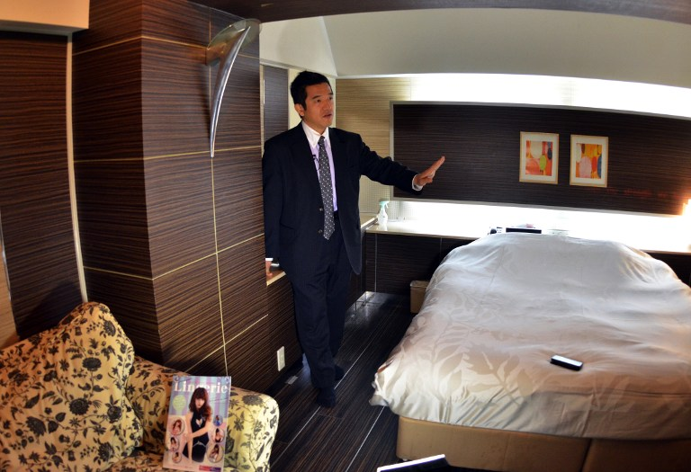 a love hotel consultant Masakatsu Tsunoda speaking to an AFP reporter in a room of the Two-Way hotel in Tokyo.