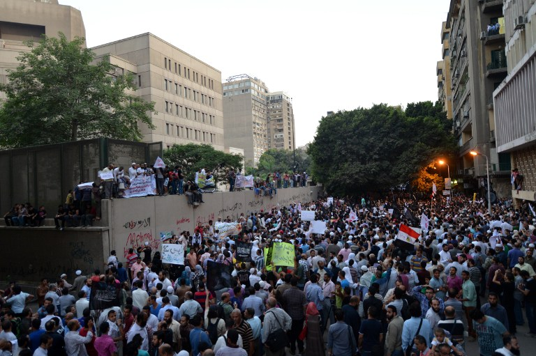 Thousands protest outside the US embassy in Cairo. ©AFP
