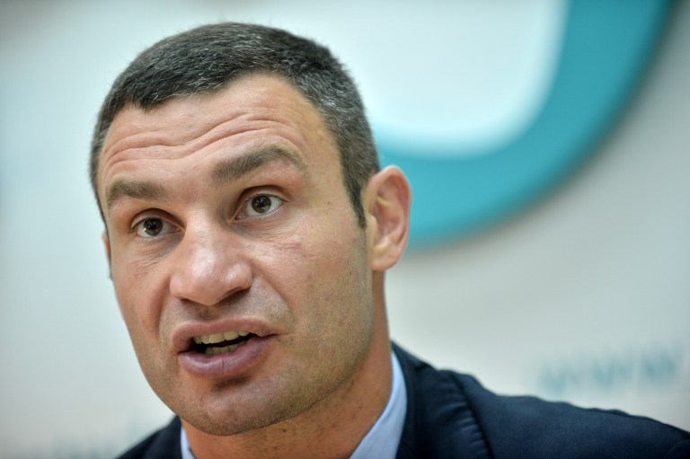 Ukrainian WBC World Heavyweight Champion and head of the opposition political party UDAR (Punch) Vitali Klitschko. ©AFP
