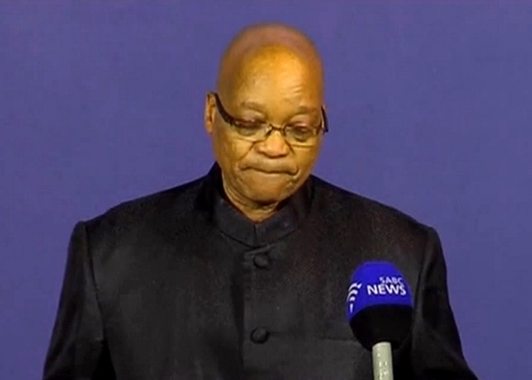 An image grab shows South African President Jacob Zuma holding a press briefing to announce the death of former president and anti-apartheid icon Nelson Mandela in Johannesburg on December 5, 2013.