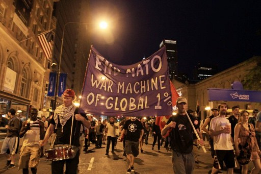 Protesters stage an anti-NATO protest in Chicago. @AFP