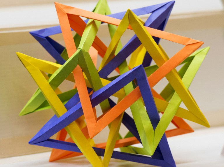 A Twisted Triangle is on display at the Origami Convention 2013 June 22. ©AFP