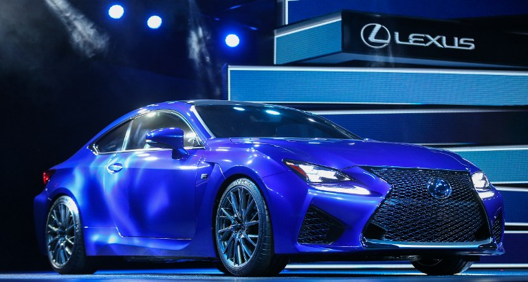 The 2015 Lexus RCF is revealed at the press preview at the 2014 North American International Auto Show in Detroit, Michigan on January 14, 2014.