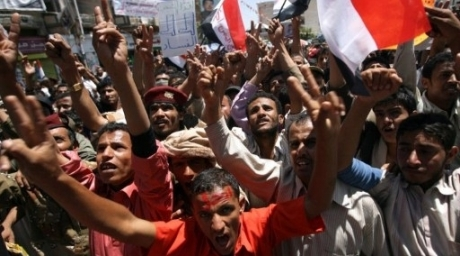 Yemeni opposition demonstrators shout slogans during an anti-regime protest in Sanaa. ©AFP
