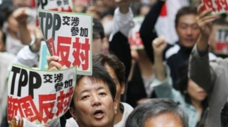 Japanese farmers protesting against Japan's participation in the Trans Pacific Partnership (TPP) free trade talks in Tokyo. ©AFP