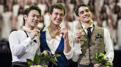 Kazakhstan's Denis Ten, Canada's Patrick Chan and Spain's Javier Fernandez. ©AFP