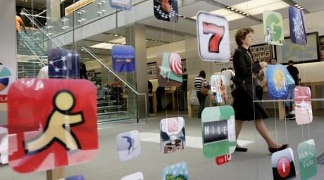 Icons for Apple applications at the company's retail store. ©Reuters