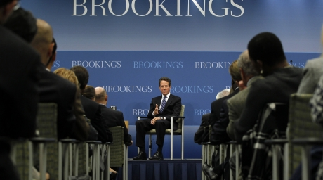 U.S. Treasury Secretary Tim Geithner speaks on U.S. economic policy at the Brookings Institution in Washington. ©Reuters