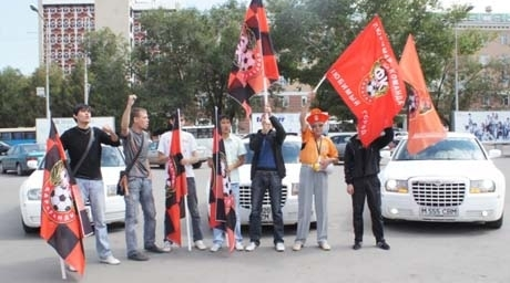 Shakhter fans celebrated the victory of the team in Karaganda-city. ©Tengrinews