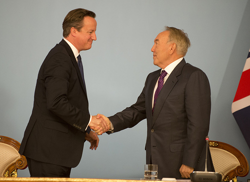 Kazakhstan President Nursultan Nazarbayev meets British Prime-Minister David Cameron. Photo courtesy of flickr.com