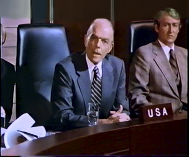 A still shot from Godzilla 1985. The actor to the left is playing the U.S. ambassador to Japan. Hal Foster photo