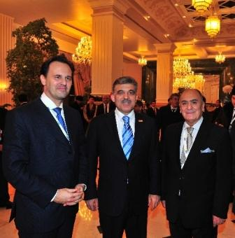 Bizhan Faramarzi with Greek Foreign Minister Dimitris P.Droutsas, left, and Turkish President Abdullah Gul at the summit of the Organization for Security and Cooperation in Europe in Astana in December  2010. Photo courtesy of Bizhan Faramarzi