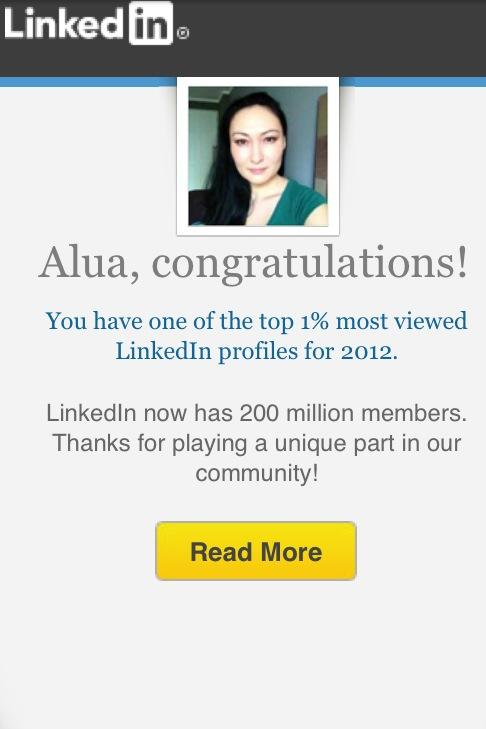 Part of Alua Pikard's business success has been her ability to network – and LinkedIn recognized that in this congratulatory message.Photo courtesy of Alua Pikard.