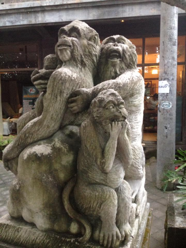 An exotic monkey statue outside shared office space that Alua Pikard used when she first arrived in Bali. Photo courtesy of Alua Pikard.
