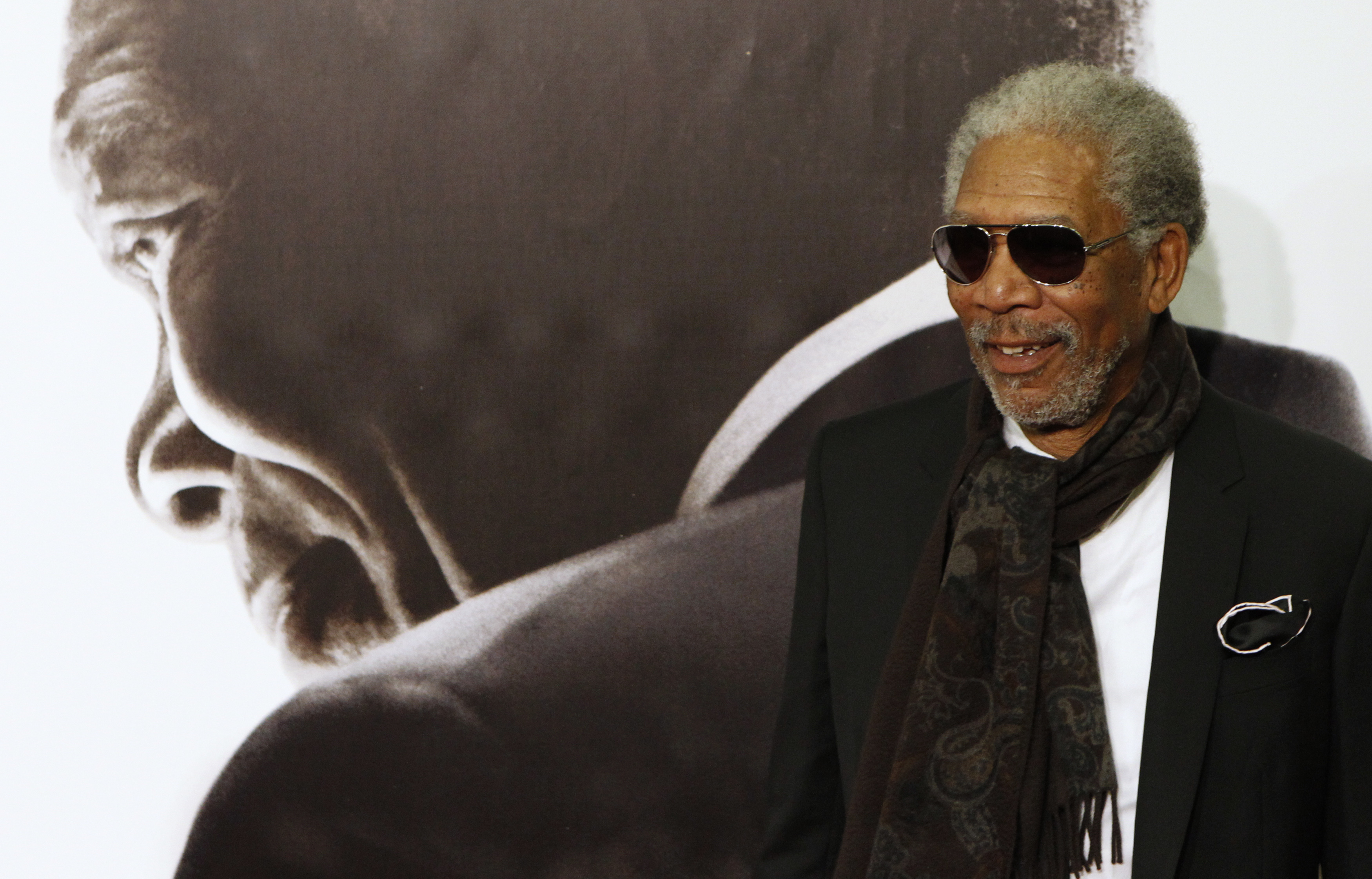 Actor Morgan Freeman poses at the Spanish premiere of director Clint Eastwood's film