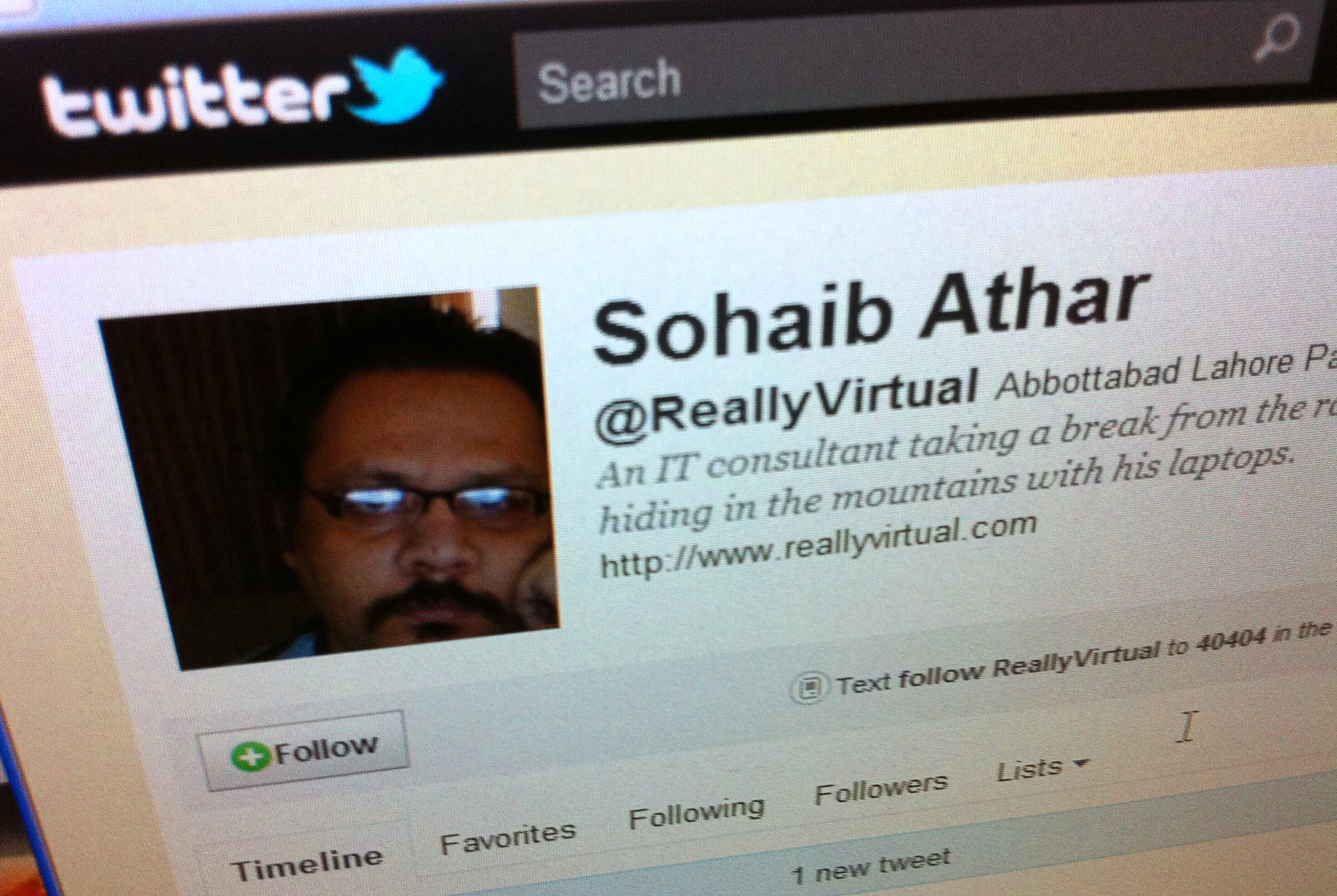 A computer screen in Singapore May 2, 2011, shows the Twitter page of Sohaib Athar. In the early hours of Monday, Athar reported on his Twitter account that a loud bang had rattled his windows in the Pakistani town of Abbottabad. A few hours later he posted another tweet: