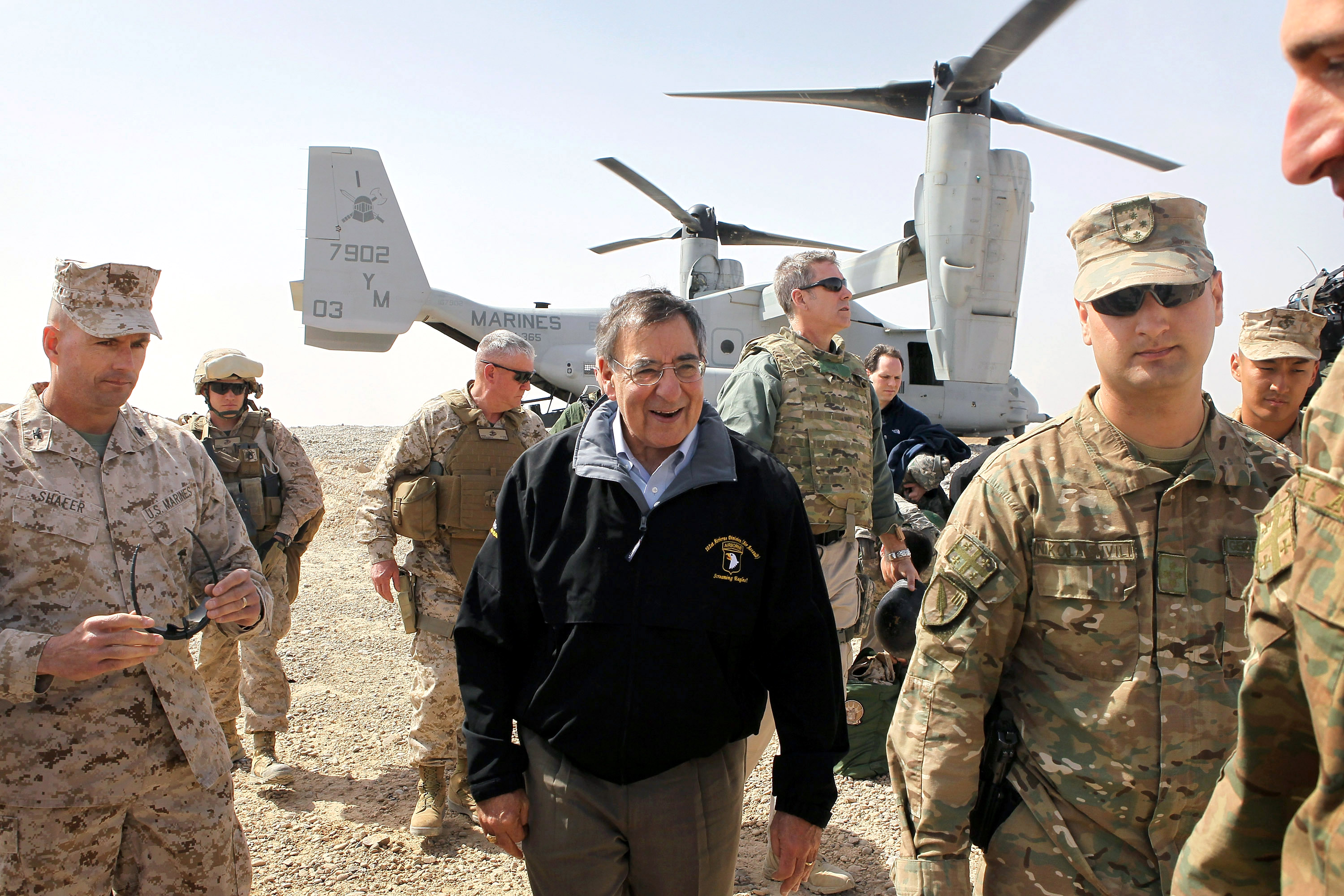 U.S. Defense Secretary Leon Panetta is greeted after arriving to greet troops at Forward Operating Base Shukvani, Afghanistan March 14, 2012. Panetta told troops in Afghanistan on Wednesday that the massacre of 16 Afghan civilians by an American soldier should not deter them from their mission to secure the country ahead of a 2014 NATO withdrawal deadline. REUTERS/Scott Olson