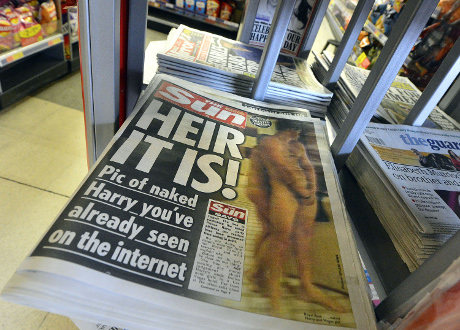 A copy of The Sun newspaper featuring a picture of a naked Prince Harry. ©REUTERS/Toby Melville