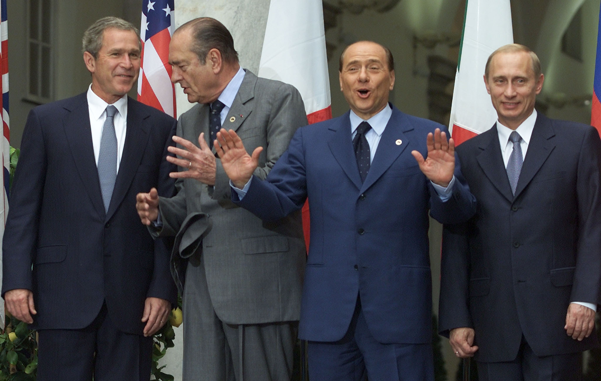 during a G8 summit session in the Palazzo Ducale.