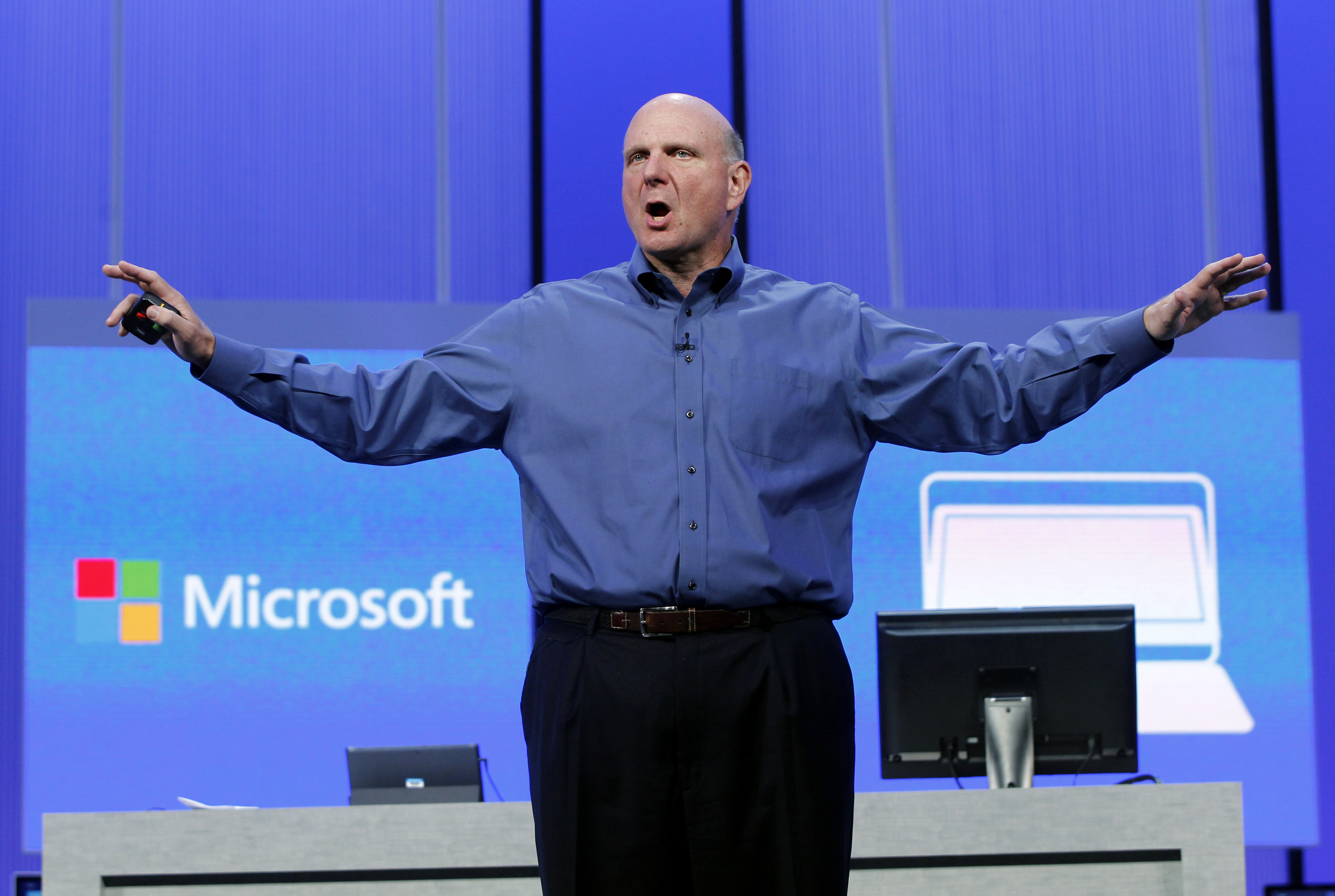Microsoft CEO Steve Ballmer gestures during his keynote address at the Microsoft