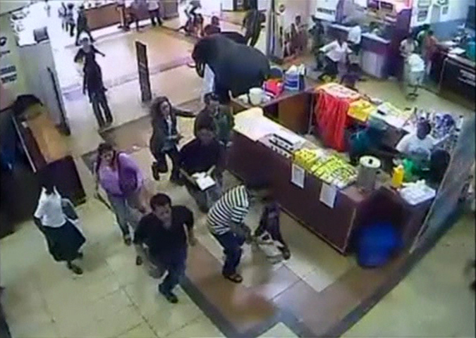 Shoppers at Nakumatt supermarket run for safety after hearing shooting by gunmen entering the Westgate shopping mall in this still frame taken from video footage by security cameras inside the mall in Nairobi and released to Reuters on October 17, 2013.