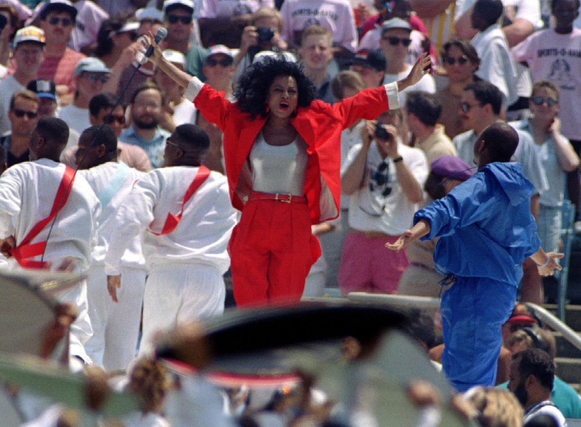 Singer Diana Ross performs during the opening ceremonies of World Cup '94 at Chicago's Soldier Field