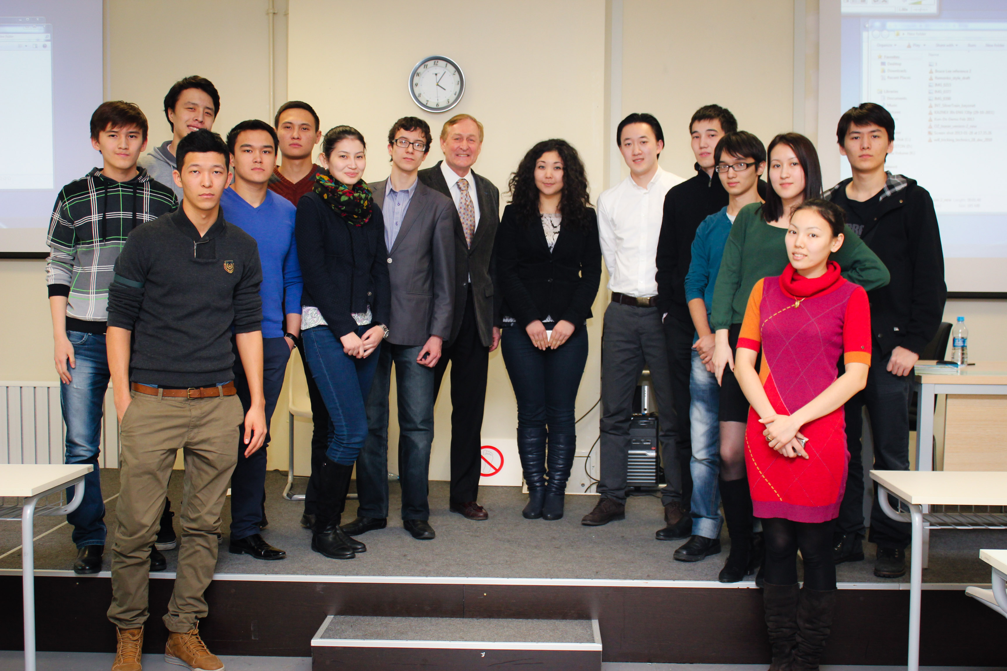 Nazarbayev University students line up for a photo with Igor Tsai. Photo by Damir Doszhan