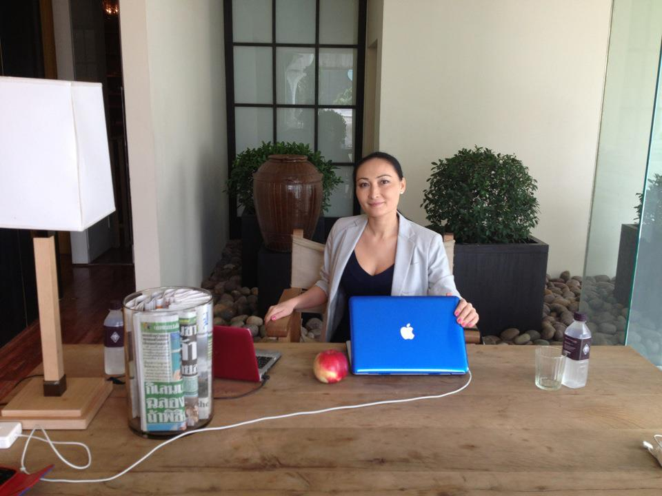 Public relations ace Alua Pikard at her desk in Bangkok. Photo courtesy of Alua Pikard.