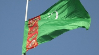 Turkmenistan's flag. Tengrinews.kz stock photo
