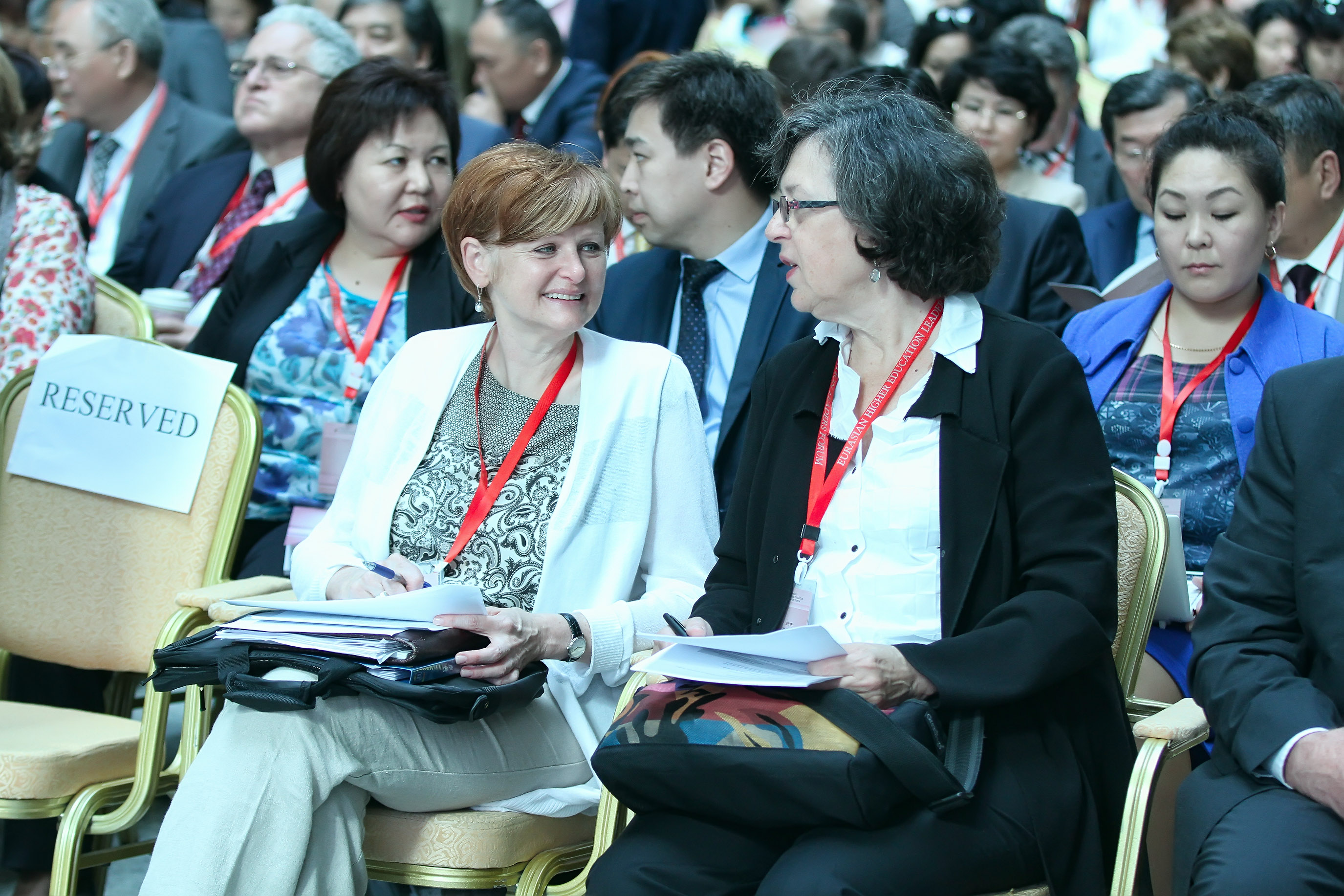 Jane Wellman, right, was one of the many international speakers at the conference. She is executive director of the Washington-based National Association of System heads. Photo courtesy of Nazarbayev University