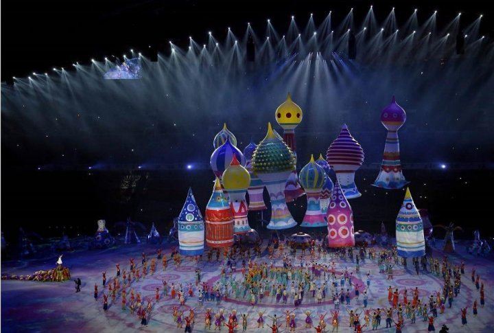 Dancers and actors perform during the Opening Ceremony of the Sochi Winter Olympics. ©sochi2014.com
