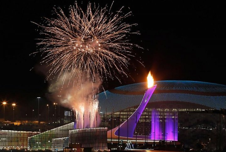The Olympic flame is lit at the end of the Opening Ceremony of the 2014 Sochi Winter Olympics. ©sochi2014.com