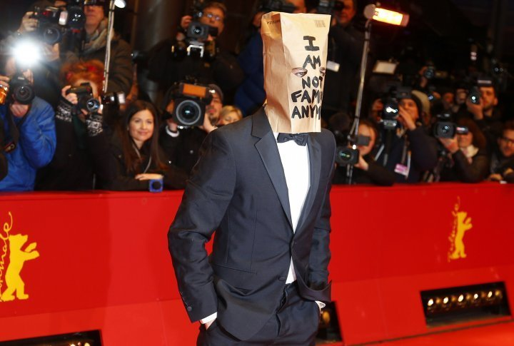 Actor Shia Saide LaBeouf attracted attention wearing a paper bag on his head with a sign: 'I'm no longer famous'. REUTERS©