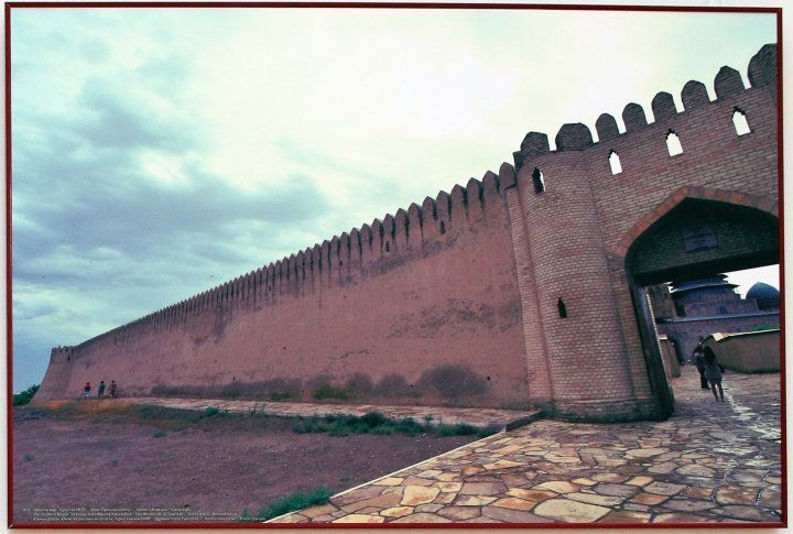 The ancient city of Turkestan. Defensive Wall. Reconstruction. Turkestan National Park. South Kazakhstan Oblast.   Turkestan is one of Kazakh few historic cities that date back to the 4th century AD.
